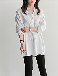 Korean version of the simple blouse loose long-sleeved dress shirt
