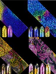 cheap -1pcs 100*4CM Fashion Nail Art Transfer Foils Sticker Chameleon Gradient Effect Colorful Laser Starry Sky Nail Foils Stickers Nail DIY Beauty FS01-04