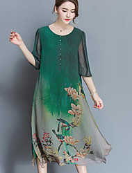 cheap -Women's Going out Chinoiserie Loose Chiffon Dress,Print Round Neck Midi Half Sleeves Polyester Summer