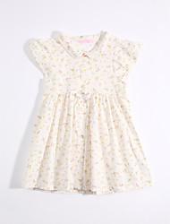 cheap -Girl's Daily Dress, Cotton Linen Summer Short Sleeves Floral Yellow
