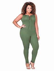 Women Sleeveless Skinny Jumpsuits Overalls Barboteuse Solid Cross Bandage Hollow out Collar Sexy Rompers Plus Sizes