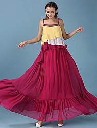 fließende Farbe neue Frauen des Sommers&# 39; s nationale Wind schlug Farbe Volants Chiffon Neckholder-Kleid