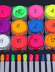 Недорогие -12 Блеск и Пудре Изысканный и современный Дизайн ногтей Гель для ногтей Повседневные Изысканный и современный Сверкающий Сборное