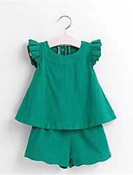 billige -Pige Tøjsæt Daglig Ensfarvet Ternet, Bomuld Sommer Uden ærmer Pænt tøj Grøn Hvid Lyserød
