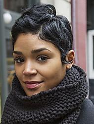 Недорогие -Парик шнурка человеческих волос крышки capie верхнего качества короткий короткий естественный волнистый черный для женщин 2017