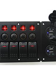 iztoss красного светодиод DC12 / 24v 4 банды двухпозиционного кулисный переключателя изогнутой панели и автоматический выключатель с