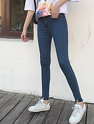 Sign a new women buckle significantly thin pants washed jeans trousers female