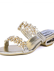 Women's Slippers & Flip-Flops Sandals Comfort PU Spring Summer Casual Comfort Sparkling Glitter Flat Heel Gold Black Silver Under 1in