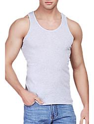 abordables -Hombre Simple Chic de Calle Activo Noche Casual/Diario Deportes Para Todas las Temporadas Verano Tank Tops,Escote Redondo Un ColorSin