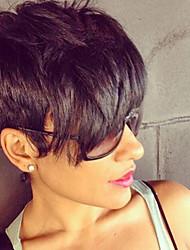 Эфирный высокого качество черных коротких волосы парик человеческих волос для женщин