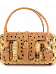 cheap -Women Bags Straw Tote Rivet for Event/Party Casual Formal Outdoor Office & Career All Seasons Beige Brown Dark Brown