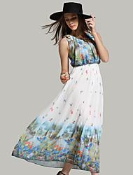 signe été nouvelle jambe européenne plissé col rond robe de mousseline imprimée grande robe à fleurs xi Miya