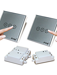 FYW Double Control Three Gang  Touch  Remote Controller Switch  No Need To Cut Wall Wiring  Can Be Pasted In Any Place