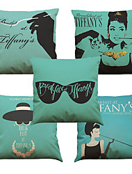 "Set of 5 Fashion High Quality Linen Tiffany Breakfast Audrey Hepburn Cushion Cover Sofa (18""*18"")"