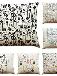 cheap -Set of 6  Abstract Geometric Line Pattern  Linen Pillowcase Sofa Home Decor Cushion Cover (18*18inch)