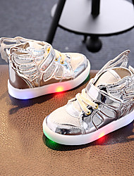 cheap -LED's Shoes Girls' Sneakers Spring Fall Light Up Shoes Synthetic Fabric Party & Evening Wings Athletic Casual Flat Heel Buckle LED
