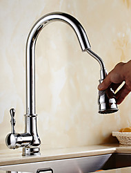 Contemporary Art Deco/Retro Modern Pull-out/­Pull-down Vessel Widespread Pullout Spray Rotatable Ceramic Valve Single Handle One Hole
