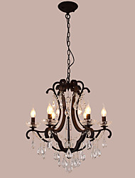 cheap -LightMyself 6 Lights Crystal Chandelier Modern/Contemporary Traditional/Classic Rustic/Lodge Tiffany Vintage Retro Lantern Drum Country Painting