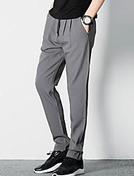 Da uomo A vita medio-alta Semplice Micro-elastico Chino Pantaloni,Taglia piccola Tinta unita