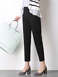 Femme Style de Bureau Taille médiale non élastique Mince Pantalon,Crochet Couleur unie Couleur unie