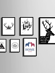 cheap -E-HOME® Framed Canvas Art  Simple Animals And  Letters  (1) Theme Series Framed Canvas Print One Pcs
