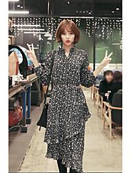nuovi elementi coreano piccola vita risvolto floreale era vestito sottile