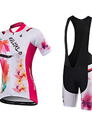 Cycling Jersey with Bib Shorts Women's Short Sleeves Bike Jersey Padded Shorts/Chamois Bib Tights Quick Dry Anatomic Design Ultraviolet