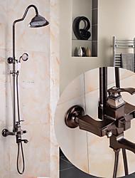 Antico Art déco/Retrò Modern Vasca e doccia Docetta inclusa Doccetta estraibile Flessibile with  Valvola in ceramica Una manopola Due fori