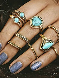 cheap -8pcs/set Midi Rings Turquoise Unique Design Fashion Vintage Alloy Jewelry For Party Daily Casual 1set