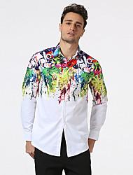 Pánské Barevné bloky Běžné/Denní Jednoduché Košile Bavlna Košilový límec Dlouhý rukáv