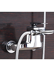 cheap -Contemporary Centerset Waterfall Ceramic Valve Single Handle Two Holes Chrome , Bathtub Faucet