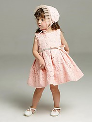 Ball Gown Short / Mini Flower Girl Dress - Lace Sleeveless Jewel Neck with Ribbon by YDN