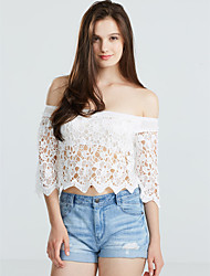 cheap -Women's Off The Shoulder/Lace Sexy/Beach Micro Elastic Short Sleeve Short Blouse (Lace)