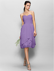 cheap -A-Line Sweetheart Knee Length Chiffon Bridesmaid Dress with Appliques Side Draping by LAN TING BRIDE®