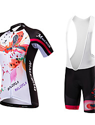 cheap -Malciklo Cycling Jersey with Bib Shorts Women's Short Sleeves Bike Clothing Suits Quick Dry Anatomic Design Ultraviolet Resistant