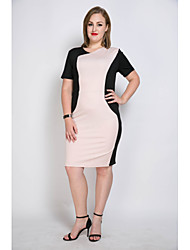 cheap -Really Love Women's Plus Size Vintage Street chic Shift Sheath Tunic Dress - Color Block Patchwork, Split