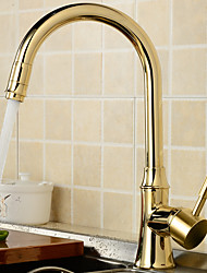 Contemporary Traditional Standard Spout Centerset Widespread Rotatable with  Ceramic Valve Single Handle One Hole for  Chrome , Kitchen