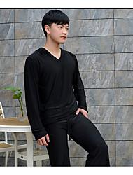 Men's Pajamas Solid Ice Silk White Black