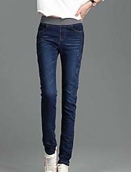 Feminino Simples Cintura Média Micro-Elástica Jeans Calças,Delgado Cor Única