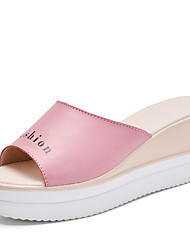 cheap -Women's Slippers & Flip-Flops Sandals Slingback Leatherette Summer Fall Casual Split Joint Wedge Heel White Blue Blushing Pink 1in-1 3/4in