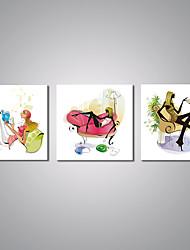 Stretched Canvas Print Cartoon Modern,Three Panels Canvas Horizontal Print Wall Decor For Home Decoration