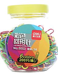 6 color paper clips office supplies 200P