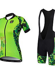 cheap -Cycling Jersey with Bib Shorts Women's Short Sleeves Bike Jersey Bib Tights Clothing Suits Quick Dry Anatomic Design Water Bottle Pocket