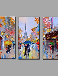 cheap -Knife Pari Streetscape Picture Canvas Handpainted Oil Painting 3 Piece/set Wall Art With Stretched Frame Ready to Hang