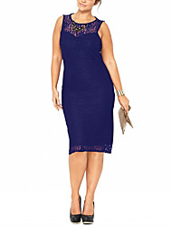 cheap -Women's Party Work Plus Size Vintage Sophisticated Sheath Dress,Solid Round Neck Knee-length Sleeveless Polyester Spandex Summer Mid Rise