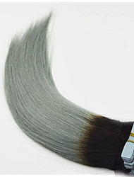 cheap -Tape in Hair Extension Ombre Human Hair Straight Grey Sliver Ombre Skin Weft Remy Indian Tape Hair Extensions Fashion Grey Hair