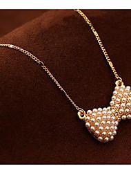 Men's Women's Choker Necklaces Pendant Necklaces Chain Necklaces Imitation Pearl Bowknot Imitation Pearl Alloy Basic Unique Design