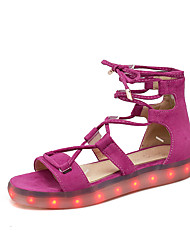 Women's Sandals Ankle Strap Light Up Shoes Luminous Shoe Fleece Summer Athletic Casual Walking Lace-up LED Flat Heel Beige Purple Flat