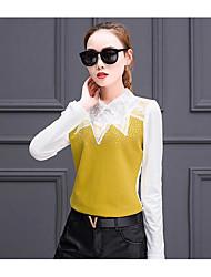 Women's Casual/Daily Work Simple Street chic Spring Summer Shirt,Print Classic Collar ¾ Sleeve Nylon Medium