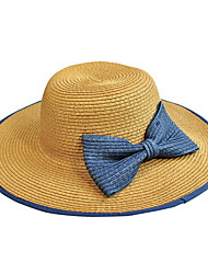 Bowknot Summer Straw Hat Cap Beautiful Girl&lady Round Wide Brim Hawaii Folding Soft Sun Hat Casual Foldable Brimmed Beach Hats For Women